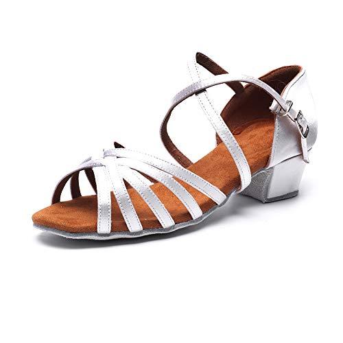 MSMAX Professionelle Lateinische Schuhe aus Satin, 3,8 cm Absatz, Weiá (3cm Heel White), 29 EU