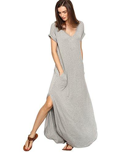 Verdusa Women's V Neck Side Pockets Split Hem Beach Long Maxi Dress A&Grey S
