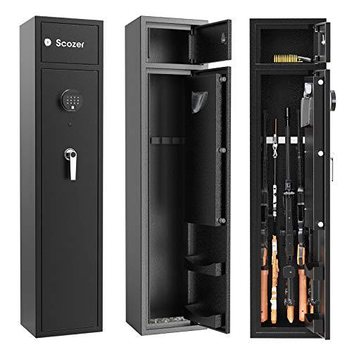 SCOZER Biometric Rifle Gun Safe, Quick Access Long Gun Security Cabinet for 4-5 Rifle with Organizer...