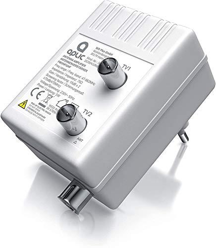 Aplic - Amplificatore antenna TV - Amplificatore a 2 uscite - amplificazione e 15dB uscita - Full HD- DVB-T DVB-T2 - DVB-C - Radio UHF, VHF, UKW