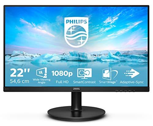 """Philips Monitor Gaming 221V8A da 22"""", Adaptive Sync 75 Hz, VA, Full HD, 4 ms, HDMI, VGA, Casse Audio Integrate, Attacco VESA, Nero"""