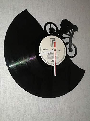Wanduhr aus Vinyl Schallplattenuhr mit Mountainbike Motiv upcycling design Uhr Wand-deko vintage-Uhr Wand-Dekoration retro-Uhr