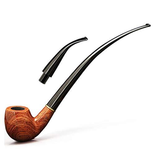 LUCKFY Cachimbo para fumar tabaco – Cachimbo clássico longo feito à mão de jacarandá de madeira dobrado – Dois suportes para cigarros para um novo presente durável, estilo comum