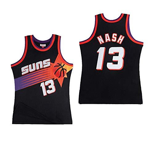 JCSW Camiseta Baloncesto Camiseta De Baloncesto Masculino Steve Nash # 13, Transpirable Resistente Al Desgaste Sudadera Bordada Camiseta + Pantalón Corto, XS-XXL, FHI210IHF (Color : Black, Size : M)