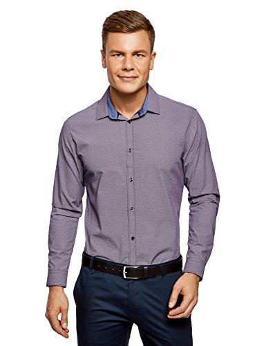 oodji Ultra Herren Baumwoll-Hemd mit Feinem Grafischem Muster, Violett, 42