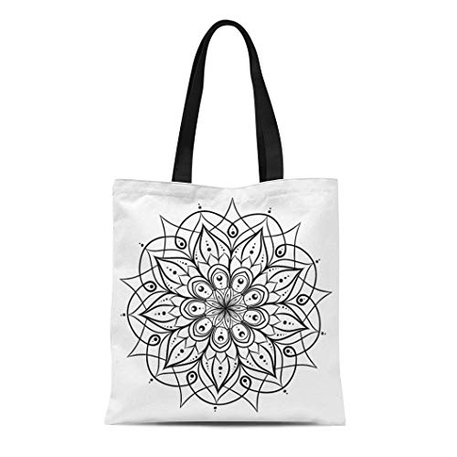Semtomn Cotton Canvas Tote Bag Coloring Book for Adults and Children Round Floral Mandala Reusable Shoulder Grocery Shopping Bags Handbag Printed