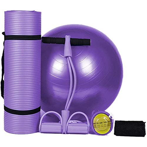 ZHANG Ejercicio Yoga Mat Set Body Shaping Fitness Yoga Ball Yoga Mat Pad Extractor de Pedales Látex Entrenador Abdominal Esteras de Ejercicio,Purple