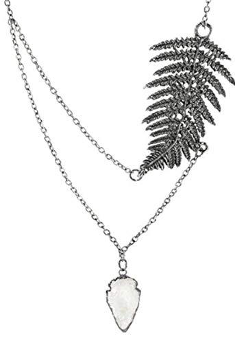 Restyle Halskette Farnblatt altsilber