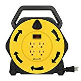 DEWENWILS Extension Cord Reel with 25 FT Power Cord, Hand Wind Retractable, 16/3 AWG SJTW, 4 Grounded Outlets, 13 Amp Circuit Breaker, Yellow, Black, UL Listed
