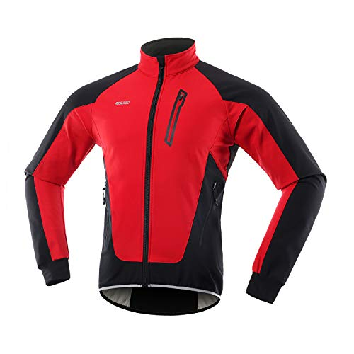 ARSUXEO - Chaqueta de Ciclismo para Hombre (Forro Polar, térmica, Impermeable) - Rojo - X-Large