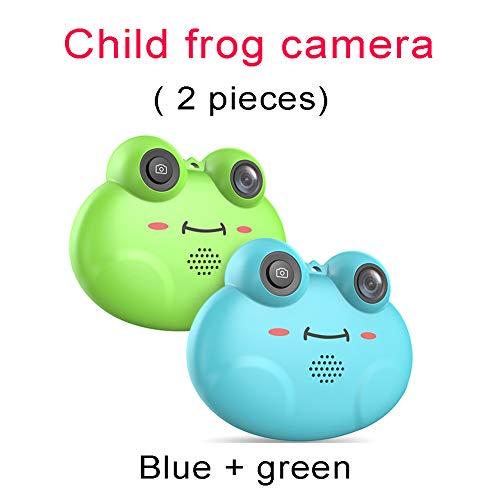 M3M Cámara Digital con Pantalla IPS de 1.54 Pulgadas, Rana Infantil, cámara grabadora de Video Digital Mini HD 1080p con cámara de Regalo multifunción con grabación en Bucle (2 Unidades),Blue+Green