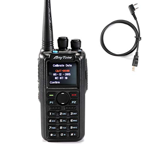 AnyTone AT-D878S VHF 136-174MHZ W/GPS Handheld Mobile Transceiver Digital DMR and Analog Two Way Radio W/Free Programming Cable, 3100mAh Battery