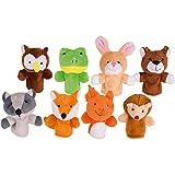 Goki 50962 Fingerpuppen-Set Waldtiere 8er Set aus Stoff