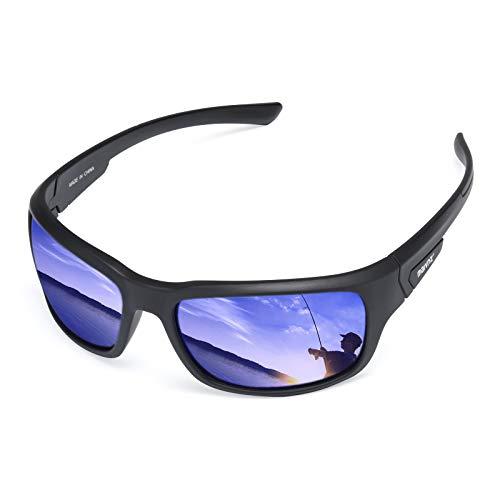 Floating Polarized Fishing Sunglasses For Men Surfing Kayaking UV Protection Unsinkable Water Sport Sun Glasses MZ871 (Black Frame Blue Revo)