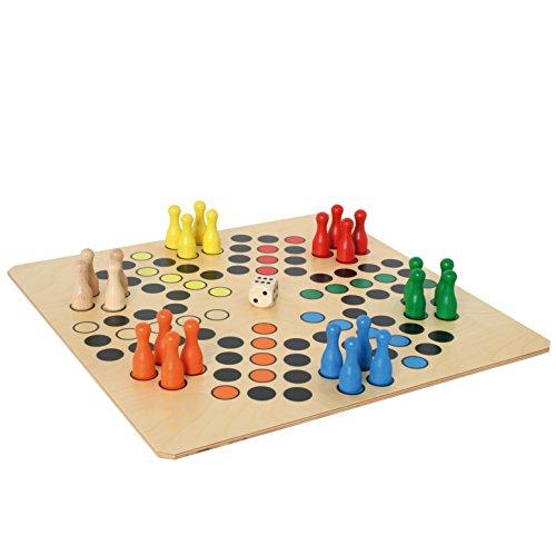 Bartl 108412 Brettspiel Ludo für 6 Personen groß aus Holz XXL Format 50cm x 50cm