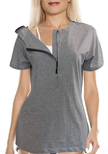 Women's Easy Port Access Chemo Shirts (XX-Large) Grey Heather