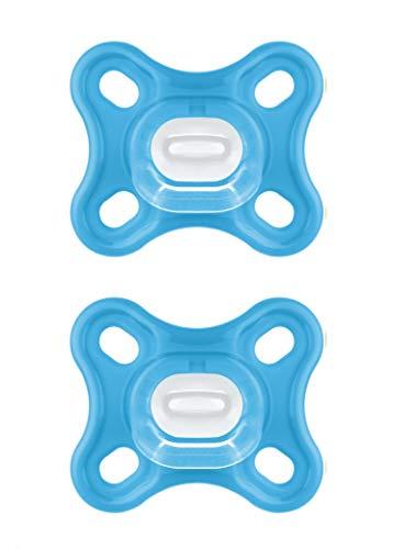 MAM Comfort Schnuller im 2er-Set, besonders kleiner und leichter Baby Schnuller speziell für Früh- & Neugeborene aus 100% Silikon, mit weichem MAM SkinSoft Saugteil und Schnullerbox, 0+ Monate, blau