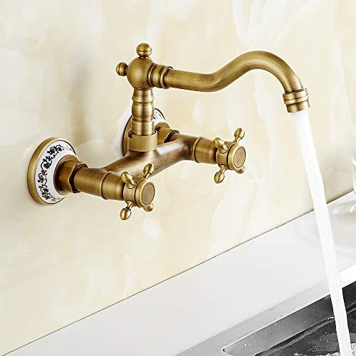 Grifo de bronce de pared mezclador antiguo clásico de cocina de baño giratorio 360° con cerámica floral refinado
