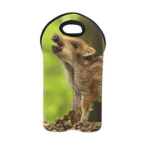 Weinträger-Einkaufstasche Baby-Wildschwein, das Weintasche für die Reise anruft Doppelflaschenträger-Weintaschen mit Griffen Dicker Neopren-Weinflaschenhalter hält Flaschen geschüt