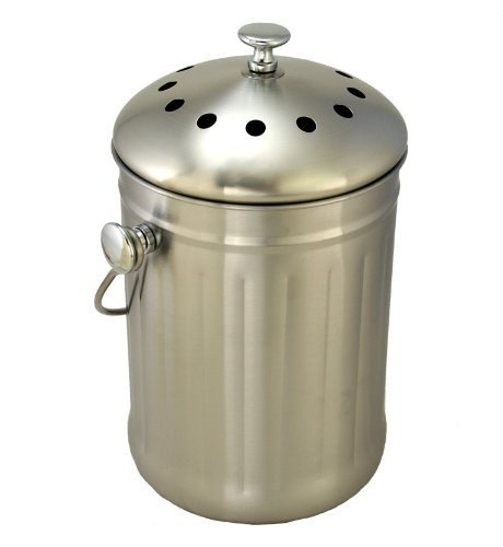 Clean Air Commerce Brushed Stainless Steel Compost Pail & Indoor Kitchen Bin