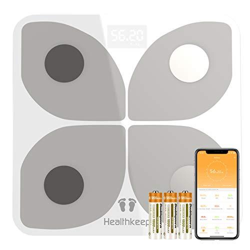 Báscula Grasa Corporal Báscula de Baño Digital, Báscula Bluetooth Inteligente con Análisis de 13 Funciones, Báscula Electrónica Monitores con App para Peso Corporal, Grasa Crporal, IMC, BMR (Blanco)