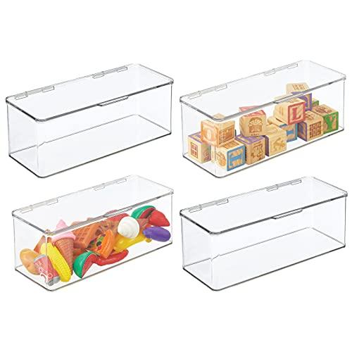 mDesign Juego de 4 organizadores de juguetes # Juguetero grande con tapa de plástico robusto # Caja organizadora apilable para guardar juguetes y manualidades # 14, 6 x 34, 0 x 12, 7 cm # transparente