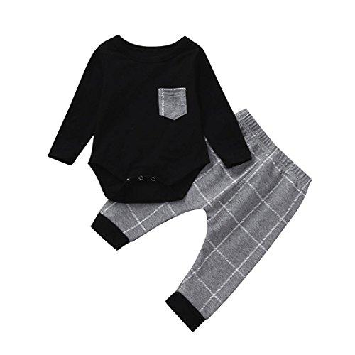 Longra 2 stuks baby jongens herinnerings-T-shirt, lange mouwen, ronde hals, schattig T-shirt, bedrukt, tops, nonchalant, crop top en strepen, lange broek, outfits