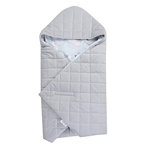 TupTam Baby Winter Einschlagdecke für Babyschale, Farbe: Schwäne Grau, Größe: ca. 75 x 75 cm