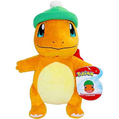 Pokemon Charmander Holiday Seasonal Plush, 8' Plush Toy, Includes Santa Hat Accessory - Super Soft, Authentic Details- Perfect for Playing, Displaying & Gifting - Gotta Catch 'Em All, Orange