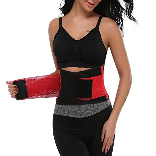 Miss Moly Damen Sport Korsett Bauch Weg Training Taillenformer Unterbrust Taillenmieder Gürtel , Rot, L