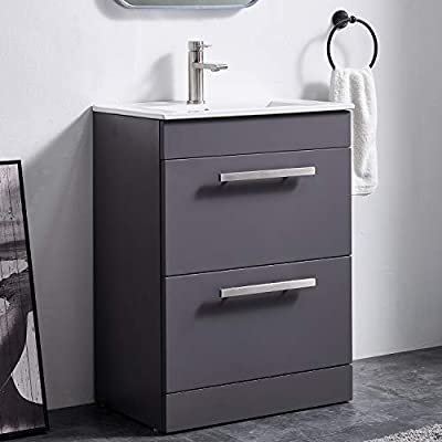 Modern Design 24 Inch Drak Grey Stand Bathroom Vanity for Small Space, Bathroom Sink Vanity Combo Cabinet Set with White Countertop Ceramic Vessel Sink