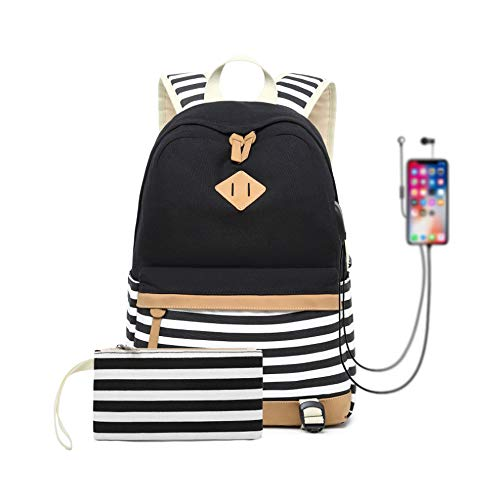 Canvas Backpack School Bags for Teenager Girls College Laptop Student Rucksack with Pencil case, Striped Casual Daypacks with USB Charging Port (Black-Strips)