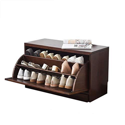 HLL Gabinete de Zapatos de Madera Maciza, Porche Moderno Y Simple, Gabinete de Zapatos para el Hogar, Gabinete de Zapatos Ultrafino de Gran Capacidad, Armario de Volteo, Vestidor,Color Nogal