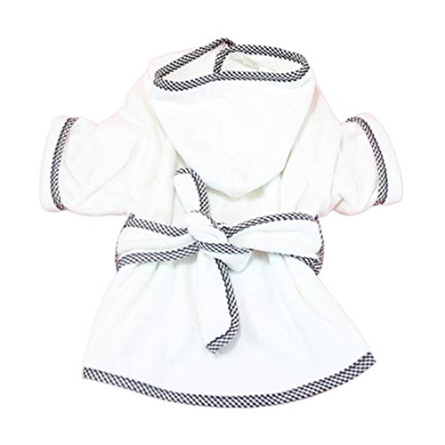 DONGKER Dog Bathrobe, Puppy Robe Dog Drying Towel Robe with Hooded & Waist Belt, Easy Wear,Super Absorbent Pets Drying Coat