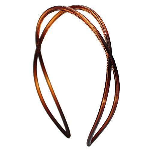 HB53 – 003 Serre-tête pour cheveux de 2,5 cm à barres entrelacées avec dents, couleur marron tortue, serre-tête pour cheveux