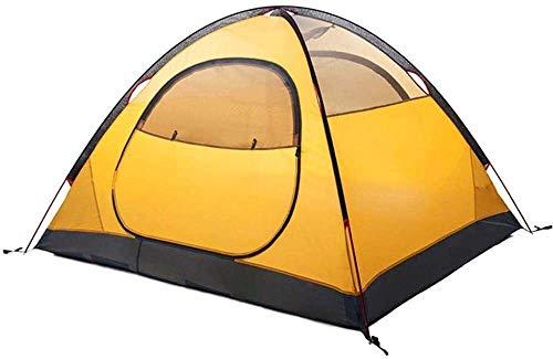 Laz, tienda de campaña al aire libre, 2 – 3 personas, impermeable, doble capa para la familia, para exteriores, espesar ligera, para kayak, escalar, senderismo (color: amarillo)