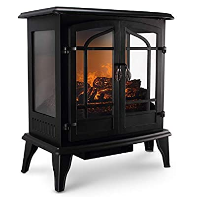 Della 3D Infrared Electric Vintage Fireplace Stove (Black) 25 Inch Portable Indoor Space Heater- 1400W Burning Wood Screen