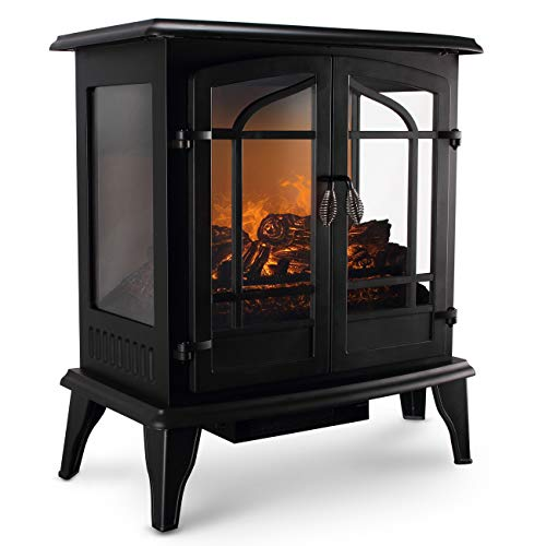 Della 3D Infrared Electric Vintage Fireplace Stove (Black) 25 Inch Portable...
