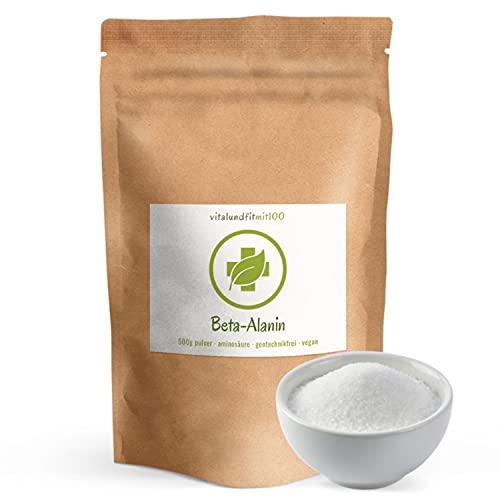 Beta-Alanin Pulver 500 g – nicht-essentielle Aminosäure -Fermentationsgewinnung - gentechnikfrei - 100{a0db08f4237dddb87ffbbfec59bdb5226dcd2b02b228bfdc83dc95557dfb7b39} vegan und rein - glutenfrei/laktosefrei – ohne Hilfs- und Zusatzstoffe - MADE IN GERMANY