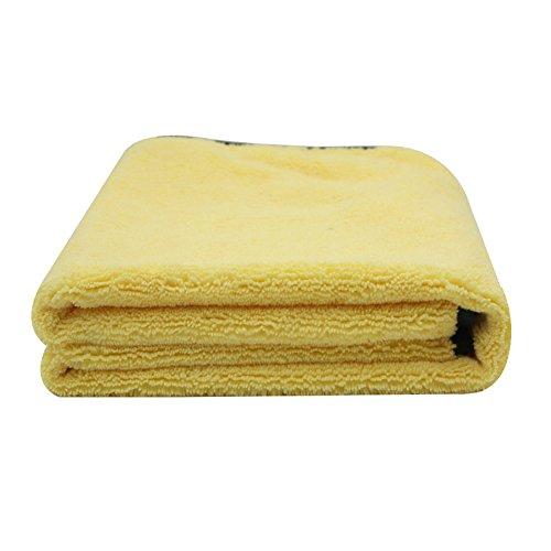 KKmoon groot formaat microvezel auto schoonmaken handdoek doek multifunctionele wassen drogen doeken 92 * 56cm geel
