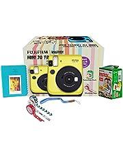 Fujifilm Instax Mini 70 Travel Box Combo Offer (Yellow Camera + Twin Film Pack + Marker + Scrap Book + Neck Strap + Masking Tape)