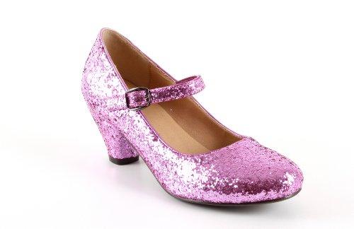 Salon Merceditas en Glitter Rosa para Niñas con Tacon Ancho.28