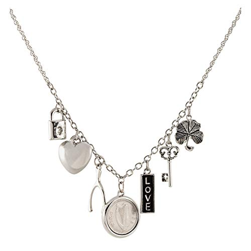 Irish Coin Charm Pendant Necklace | Ireland Threepence Coin for Collectors | Silvertone 18 inch Chain for Women | Lobster Claw Clasp | Elegant Gift Box Included
