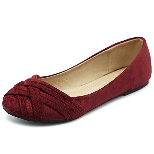 Ollio Damen Ballettschuh Cute Casual Comfort Flat, Rot (burgunderfarben), 37.5 EU
