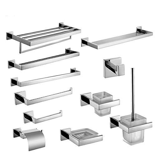 U/D Sygjal Set de Hardware de baño Soporte de Cepillo de Dientes Pulido Cromado Soporte de Papel Toalla Bar Gancho Accesorios de baño