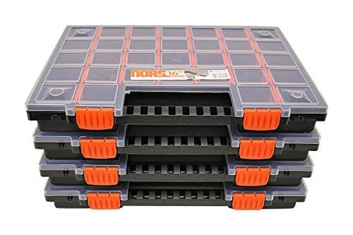 Sortimentskasten Sortimentskoffer schrauben Sortierbox groß Kleinteilemagazin mit Fächer individuell einteilbar Organizer im 4er SET ca. 399 x 303 x 50 mm