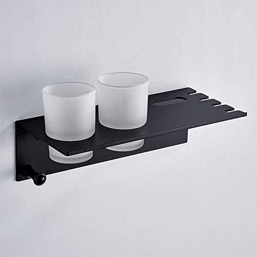 funnyy Acero Inoxidable baño Cepillo de Dientes Cepillo de Dientes Titular Traje Negro montado en la Pared de Almacenamiento de Almacenamiento Caja de baño Estante Gancho toallero,Black