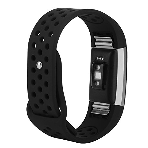 "for Fitbit Charge 2 Bands, Wristband Adjustable Comfortable Soft Silicone Replacement Band for Fitbit Charge 2 Fitness (Black, Small (5.5""-6.7""))"