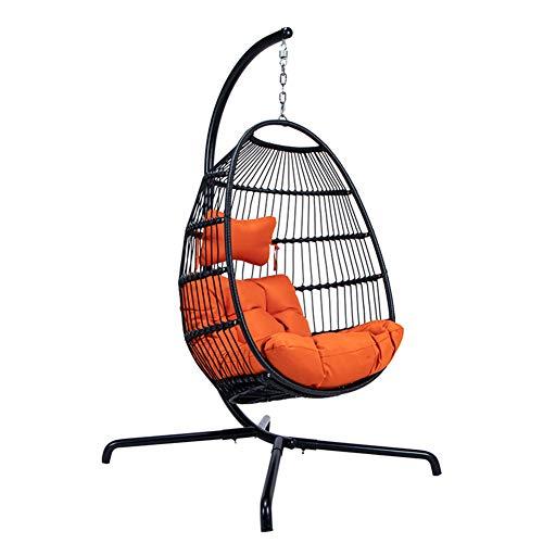 Silla Colgante De Mimbre De Mimbre Patio Al Aire Libre con Soporte para Dormitorio De Interior Al Aire Libre Patio Jardín,Naranja