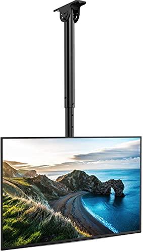 TV Deckenhalterung, Schwenkbare Neigbare Höhenverstellbare Halterung für 26-55 Zoll Flach & Curved Fernseher bis zu 45kg, max.VESA 400x400m an Flachdach oder Dachschrägen
